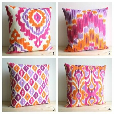 Orange And Pink Ikat Cushion Cover, Made In UK, 100% Cotton • 12.65£