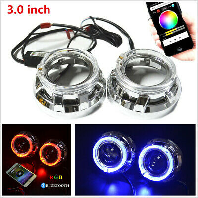 $41.24 • Buy 3.0 H1 Bi Xenon Hid Projector Lens Shrouds RGB Angel Eye Halo Ring Bluetooth APP