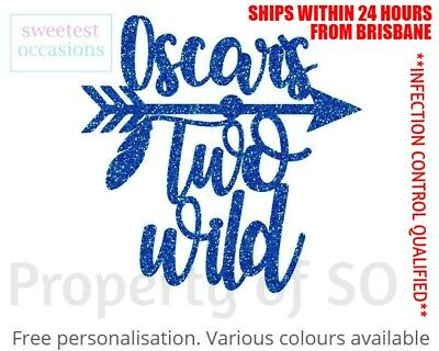 AU11 • Buy Personalised Custom TWO WILD With Arrow Second Birthday Cake Topper