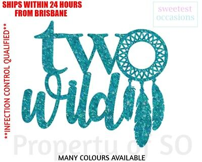 AU9.99 • Buy TWO WILD With Dreamcatcher Second Birthday Cake Topper