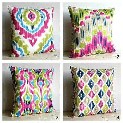 Cerise And Green Ikat Cushion Cover, Made In UK, 100% Cotton • 5.95£