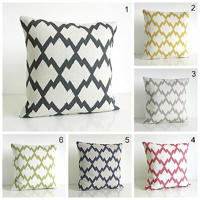 IKAT Cushion Cover, Linen Cotton, Made In UK • 14.25£