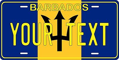 Barbados Flag License Plate Personalized Car Auto Bike Motorcycle Custom  • 12.09£