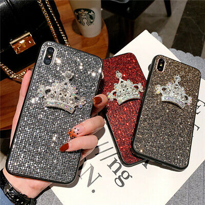 AU7.21 • Buy Fashion Luxurious Glitter Square Diamond Queen Crown Case Cove For Various Phone