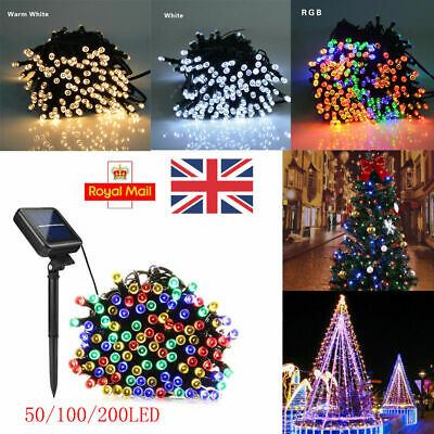 200 LED Solar Fairy Lights Indoor/Outdoor Wedding Party Garden Tree Decor IP65 • 10.99£