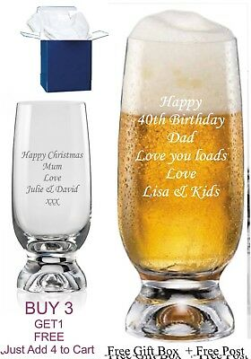 Personalised Beer Glass Birthday Gift 18th 21st 30th 40th 40th 50th 60th Gift • 9.98£