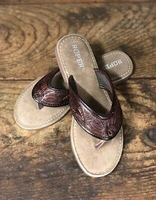 $65.95 • Buy Roper Women's Brown Tooled Leather Sandals 1268