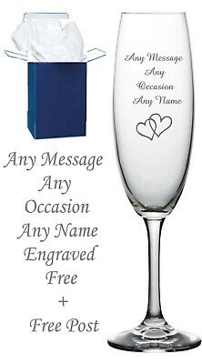 Personalised Engraved Champagne Flute Wedding, Birthday 50th 60th 65th 70th Gift • 8.98£
