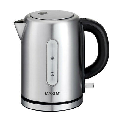 AU29.95 • Buy Maxim 1L Small Stainless Steel Cordless Kettle 2200W Electric Jug Water Boiler