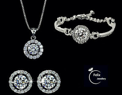 £3.99 • Buy Stunning Crystal Diamante Evening Wedding Prom Necklace & Earring Jewellery Sets