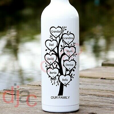 FAMILY TREE PERSONALISED VINYL DECAL STICKER For WINE BOTTLE 8 X 17.5 Cm • 2.79£