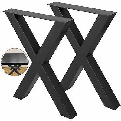 Table Legs X-frame Steel Black One Pair Bench Legs Office Table Legs Set Of 2 • 96.99£