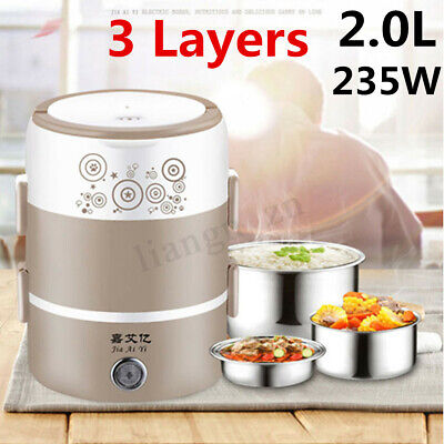 AU27.39 • Buy 3 Layers 2.0L Electric Rice Cooker Heating Lunch Box Food Warmer Meal Container