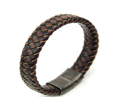 Brown/Black Mixed Woven Leather Men Bracelet Stainless Steel Gun Metal Clasp • 8.99£