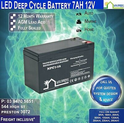 AU39.95 • Buy 12V 7Ah Sealed Lead Acid  Rechargeable AGM Battery Deep Cycle