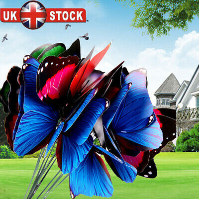 UK 10pcs Artistic Garden Ornaments Butterfly On-Sticks Home Outdoor Patio Decor • 3.99£