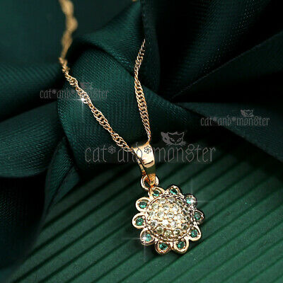 AU12.74 • Buy 9k Gold Gf Green Emerald Crystal Flower Vintage Pendant Necklace Chain Xmas Gift