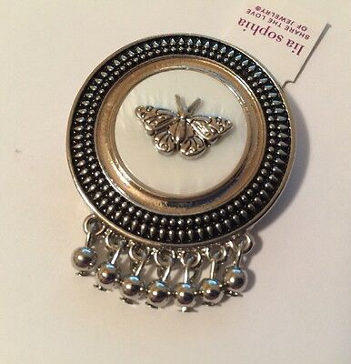 $ CDN9.03 • Buy NWT Lia Sophia Souvenir Butterfly Slide / Pendant / Pin Mother Of Pearl - Silver