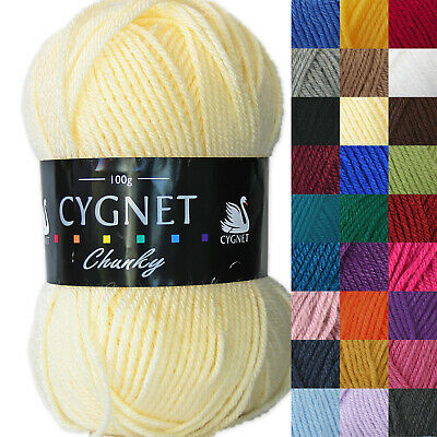 Cygnet Chunky 100g 100% Arylic Knitting Yarn. Full Range Of Colours • 2.99£