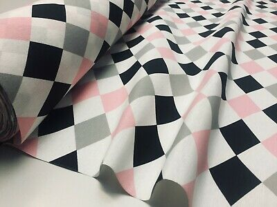 Harlequin Diamond Rhombus Cotton Fabric Upholstery Home Decor Curtain 140cm Wide • 10.99£