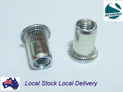 AU9.90 • Buy Qty 50 M6 Large Flange Nutserts Clear Zinc Plated Steel Rivet Nut Rivnut Nutsert