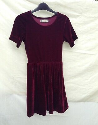 Hearts And Bows Burgundy Velvet Skater Dress Size 8  • 9£