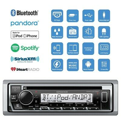 $128.95 • Buy Kenwood Bluetooth Marine Boat KMR-D375BT IPhone IPod Stereo USB Receiver NEW