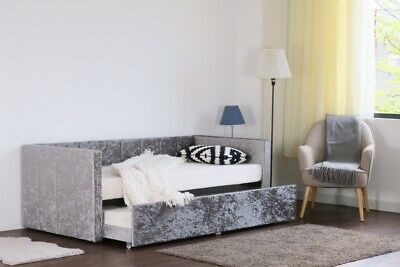 £999.99 • Buy 3ft Single Silver Crushed Velvet Day Bed Guest Bed With Trundle Mattress Options