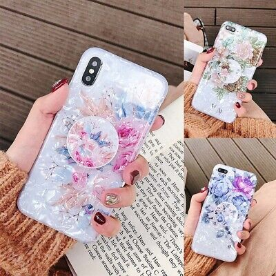 AU8 • Buy For IPhone 11 12 13 Pro Max XS XR Marble Flower Holder Stand Soft TPU Case Cover