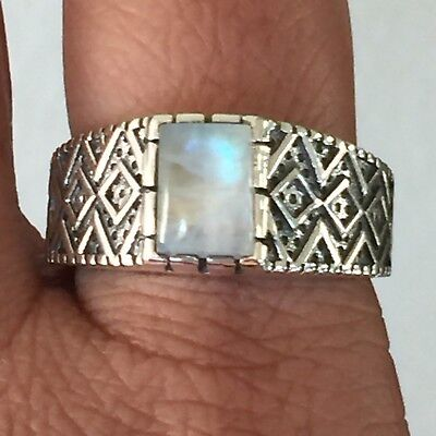 $123.49 • Buy Natural Rainbow Moonstone 925 Solid Sterling Silver Solitaire Men's Ring Sz 12