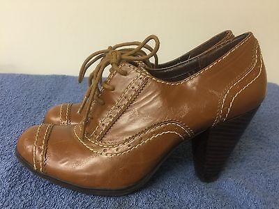 $ CDN15.71 • Buy STYLE & CO  Ariella  Brown Faux Leather High Heel Lace Up Shoes Size 5.5