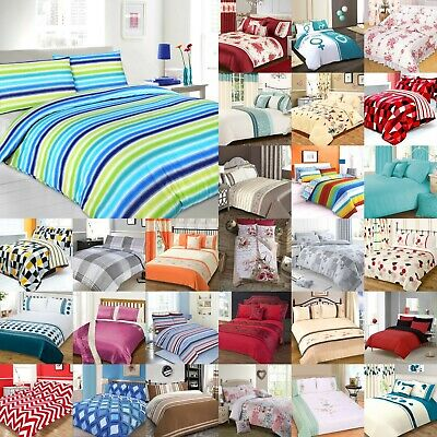 Double Duvet Cover Sets With Pillowcase(s) Poly Cotton 180 Thread Count Bedding • 12.50£