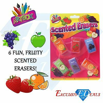 Scented Erasers Rubbers School Stationary - Gift / Party Bag Filler - Pack Of 6 • 2.25£