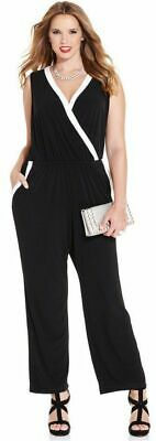 $48.99 • Buy (NWD) NY Collection Women's Plus Size 3X Black/White Stretch Tuxedo Jumpsuit
