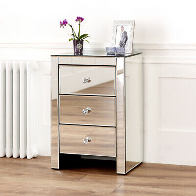 £139 • Buy Venetian Mirrored 3 Drawer Bedside Table - Glass Side Nightstand Unit - VEN07