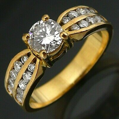 AU1875 • Buy Sparkling DIAMOND 18k Solid Yellow GOLD Solitaire & Accents RING Val=$5585 Sz K