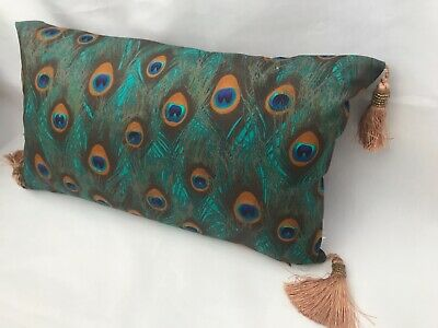 51x30cm Cushion Cover Suedette Peacock Feather Print New Handmade 12  20  Blue • 14.95£