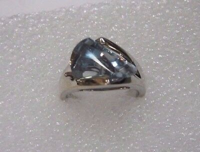 925 Sterling Silver And Blue Uniquely Shaped Topaz Ring, Size 6 110-U • 30.87£
