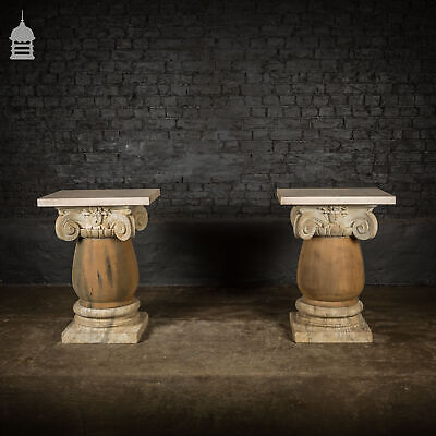 £3840 • Buy Pair Of 19th C Marble Capitals Column Components With Reclaimed Hardwood Pillars