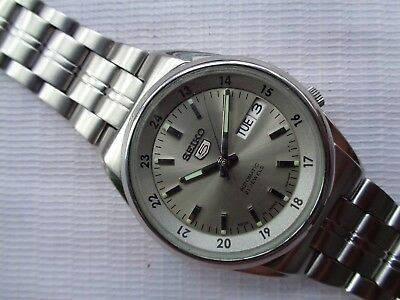 $ CDN127.61 • Buy Rare Ash Gray 12/24 Hour Dial Seiko 5 Military Style Mens Automatic Wristwatch