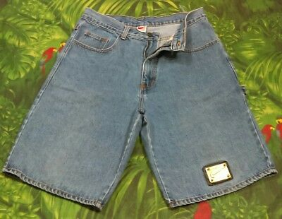 9f271d69e628f Vintage 90's Nike Men's 36 Denim SWOOSH Logo Leather Patch Shorts Made In  USA. •