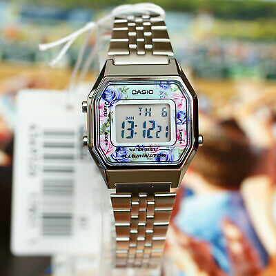 $ CDN57.03 • Buy Casio LA680WA-2C Women Mid-Size Silver Digital Retro Vintage Watch FLORAL New
