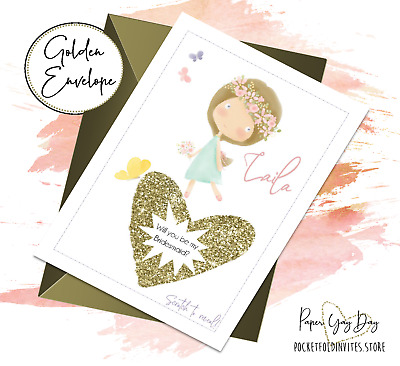 £3.59 • Buy Personalised Bridesmaid Proposal Card. Flower Girl Hidden Message Cards. Scratch