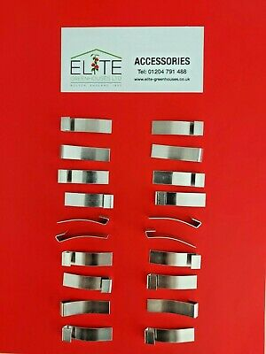 GENUINE Elite 20 X Greenhouse Rust Free Aluminium Glazing Overlap Clips Flexible • 6.19£