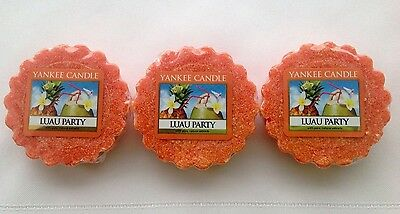 Yankee Candle LUAU PARTY LOT OF 3 TARTS WAX MELTS RETIRED HTF ITEM HAWAII • 6.30£