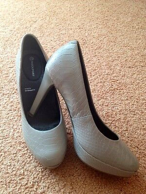 ROCKPORT Croc Real Leather LADIES JANAE PUMP COBBLESTONE GREY SIZE UK 5 Or 4,5 • 15£