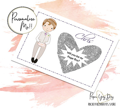 £3.59 • Buy Personalised Page Boy Proposal Card SCRATCH & REVEAL Hidden Message Card Usher