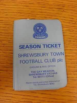 £5.10 • Buy 1982/1983 Shrewsbury Town: Official Season Ticket (Wallet Style, With A Few Vouc