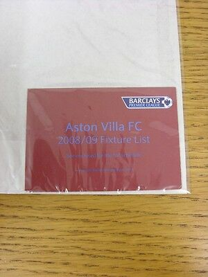 2008/2009 Aston Villa: Official Seasons Fixture Card, Fold Out Style, Credit Car • 2.99£