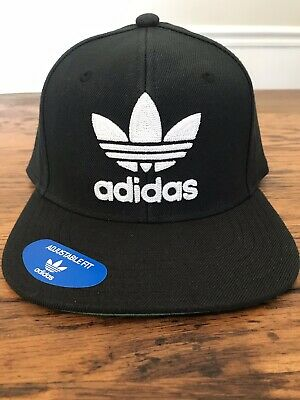 67b303b1f7731 New Adidas Original Mens Trefoil Chain Snapback Hat Black White Trefoil  Logo • 20.99